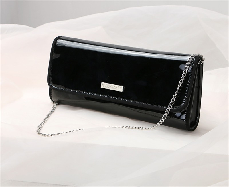 New Elegant Pure 3 Color Dinner Banquet Bag PU Leather High Quality Evening bag with chain HBF37 (3)