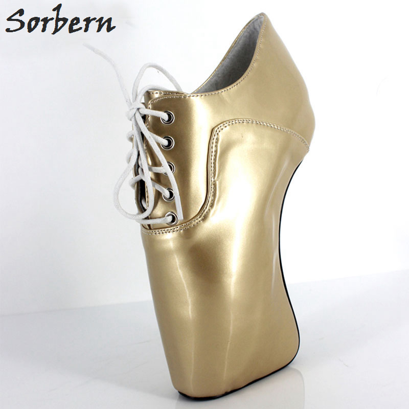 Sorbern Woman <font><b>Boots</b></font> <font><b>Extreme</b></font> 18CM <font><b>High</b></font> <font><b>Heel</b></font> Hoof <font><b>Heel</b></font> BALLET Short Shoes <font><b>Sexy</b></font> <font><b>Fetish</b></font> Curved <font><b>Heels</b></font> Lace-Up Ankle <font><b>Boots</b></font> image