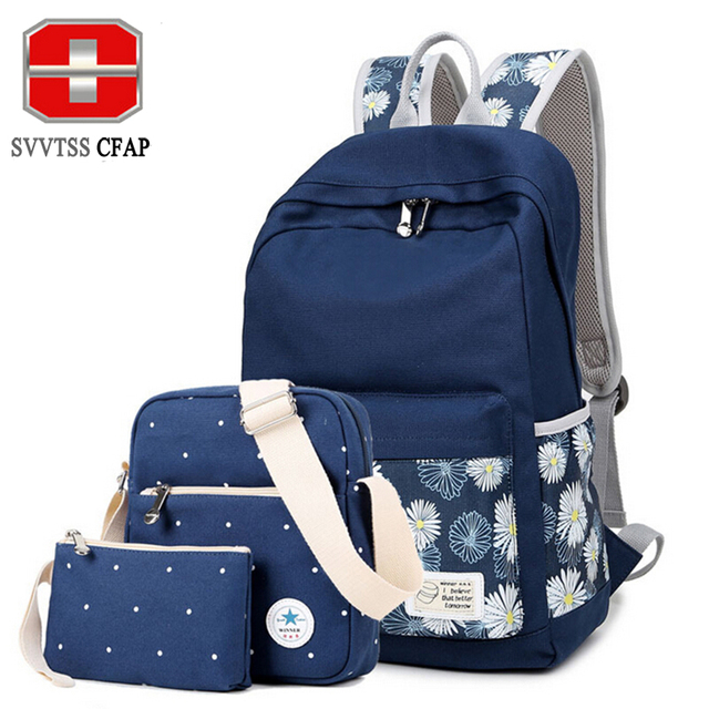 3pcs Printing Canvas Women Backpack Brand Travel Bags 14-inch Laptop Backpacks For Teenage Girls School Bags For Teenagers 2016