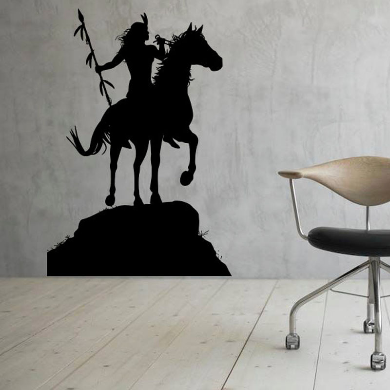 zooyoo native american indian wall stickers horse rider wall decals