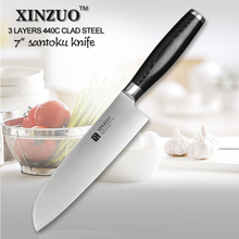 XINZUO 7 inch santoku knife 440C clad steel kitchen knife sharp Japanese chef knife kitchen tool micarta handle free shipping