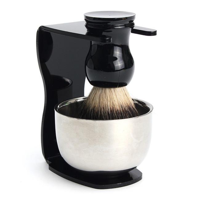 3 Em 1 Conjunto de Barbear Pêlos de Texugo Pincel De Barba dos homens + Suporte de plástico Titular Navalha + Inoxidável Tigela Sabão de Limpeza Facial Masculino ferramentas