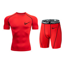 New Brand Compression Shirt Men's Set Short Sleeve + Shorts 3DMMA Print Crossfitgym Tights Fashion Breathable Clothes