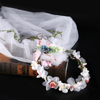 Wedding DIY Decor Artificial Flower Girl Crown Headband Wreath Veil Bridal Wedding Hair Accessories Sweet Lovely Fairy Hair Band