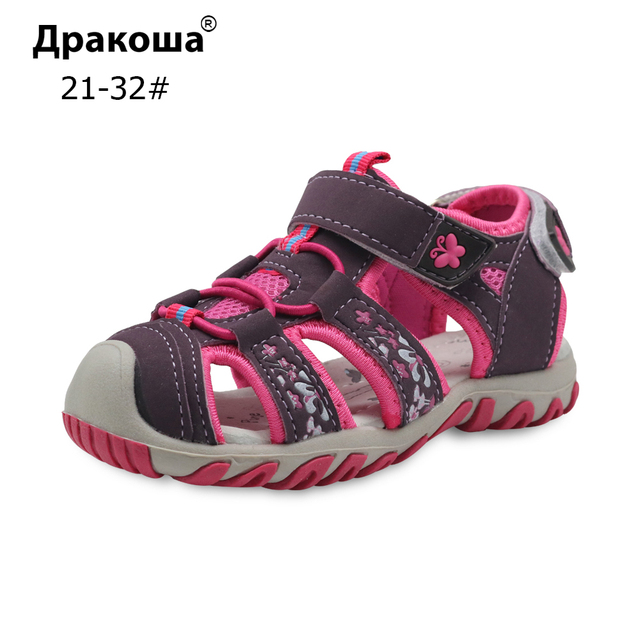 874a618cd Apakowa 2018 Novas Crianças Sapatos Meninas Sandálias com o Apoio Do Arco  Sola de borracha Dedo