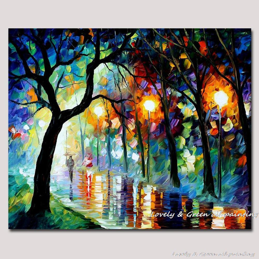 Colorful Art: 100% Hand Made Oil Painting On Canvas Rain Street Palette
