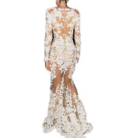 Zuhair Murad Celebrity Dresses Real Images Sheer Candice Ivory Lace Appliques Over Illusion Long Sleeve