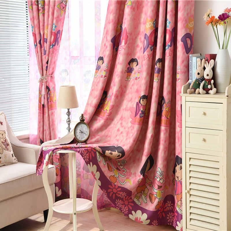 Cute Blackout Curtains For Living Room Bedroom Children Girls Cartoon Window Shade Screens Curtains Kitchen Curtains