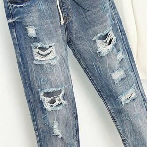 Image 3 - Pantalones Vaqueros rasgados para Mujer, Vaqueros Boyfriend de estilo Vintage holgados de cintura alta, Vaqueros de talla grande 5XL, Pantalones Q58 para Mujer