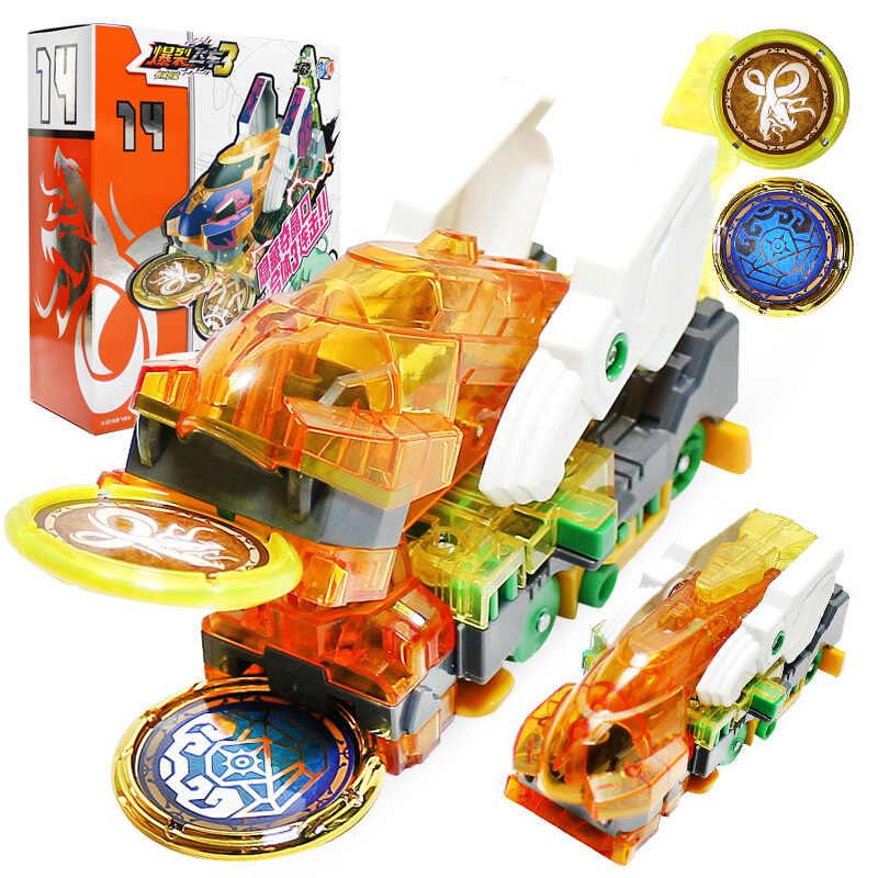 Mais novo explosão velocidade screechers selvagem deformação carro figuras de ação vários chip captura wafer 360 ° flip transformação carros brinquedos