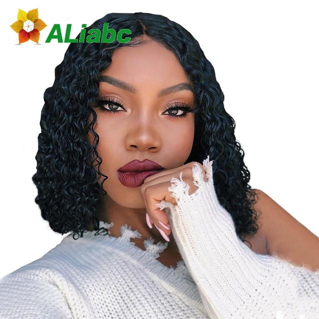 Pelucas brasileñas del pelo humano del frente del cordón de Aliabc 13*4 Bob pelucas para mujeres negras Color Natural Remy rizado pelucas frontales de encaje corto