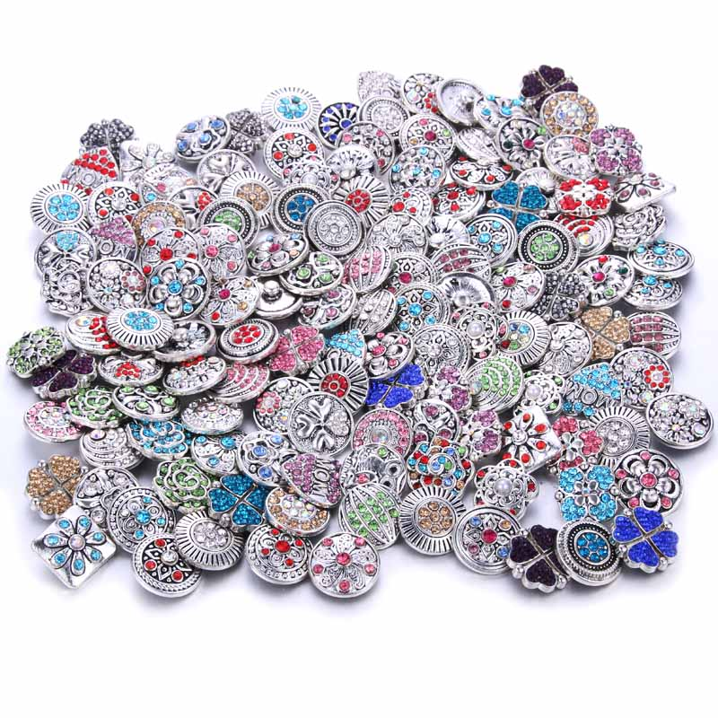 10pcs/lot 12mm 18mm Snap Buttons Jewelry for Snaps Bracelet Mixed Rhinestone Metal Charms DIY Buttons Snap Jewelry image
