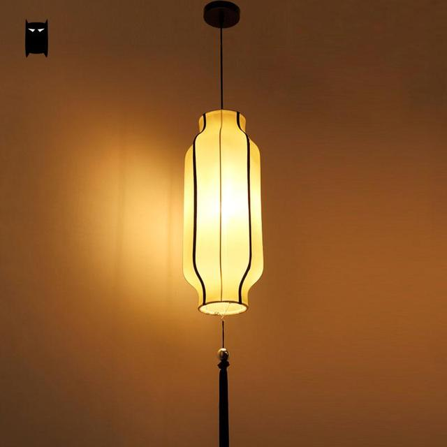 Long Fabric Lantern Lampshade Pendant Light Fixture New Chinese ...