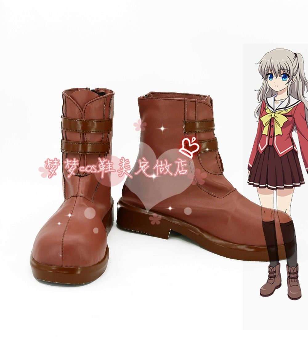 Costumes & Accessories Charlotte Nao Tomori Cos Low-heel Shoes Cosplay Shoes Halloween Cosplay Boots Anime Custom-made
