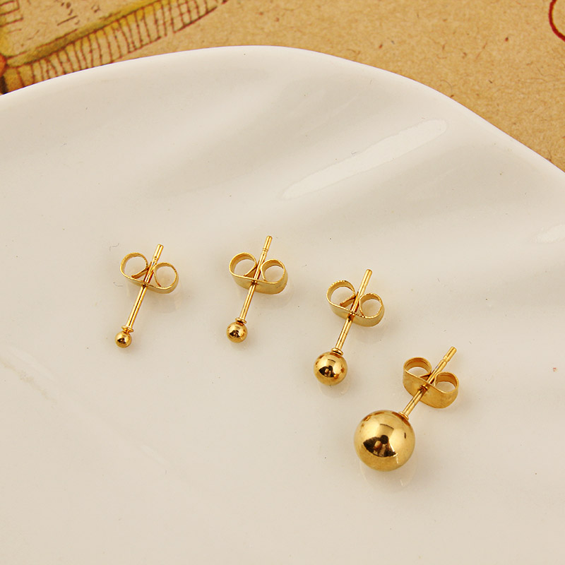 Round Ball Stud Earrings Gold