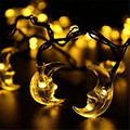 1*4.8M 20LED Solar-powered Waterproof String Lights,The Curved Moon Shaped Fairy Lighting String for Princess Bed Garden Decor