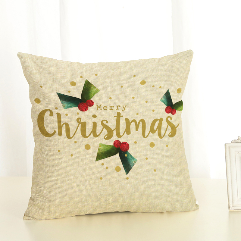 Cartoon Santa Claus gifts Printed Christmas Cotton linen blend Throw Home Decorative Cushion Cover Cojines Throw Pillowcase in Cushion Cover from Home Garden