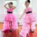 Adorable Jewel Ruffle/Con Gradas/Sash Organza Alto Bajo Pink Little Cupcake Girls Vestidos Del Desfile 2014