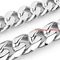 "8.66"" 15mm Wholesale 316L Stainless Steel Silver Tone Curb Cuban Chain Mens Boys Bracelet Bangle Fashion Jewelry Christmas Gift"