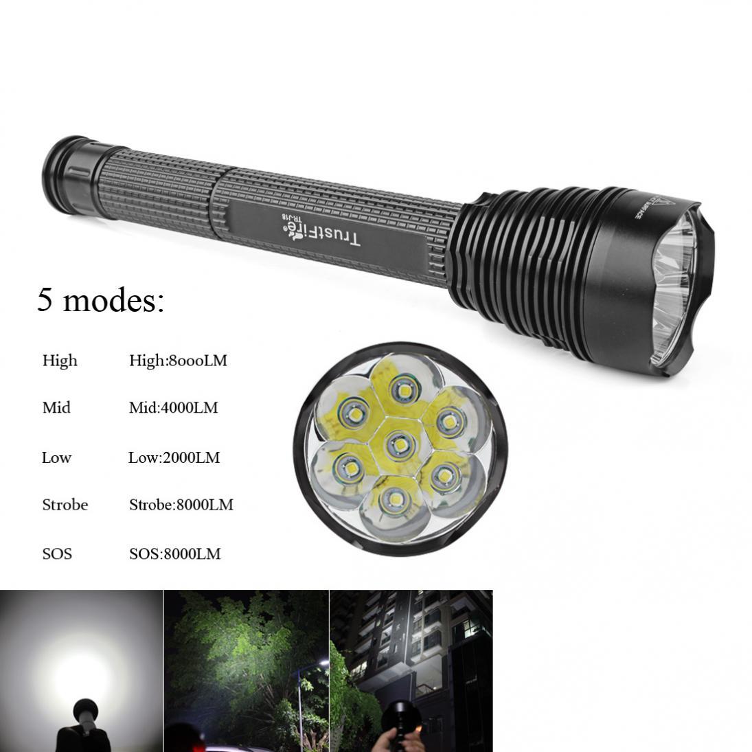 купить Sale TrustFire J18 7 x XM_L2 Super Bright 8000Lm 5 Modes Waterproof Extended LED Flashlight 18650 / 26650 Torch Light онлайн