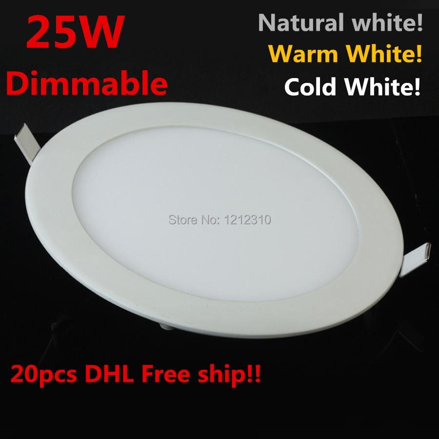 25W Dimmable LED Ceiling Downlight Natural white Warm White Cold White AC110 220V led panel light