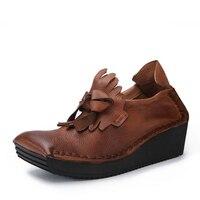 Высокое качество Для женщин оксфорды Туфли без каблуков обувь на платформе из натуральной кожи без застежки круглый носок Creeper Винтаж и мод