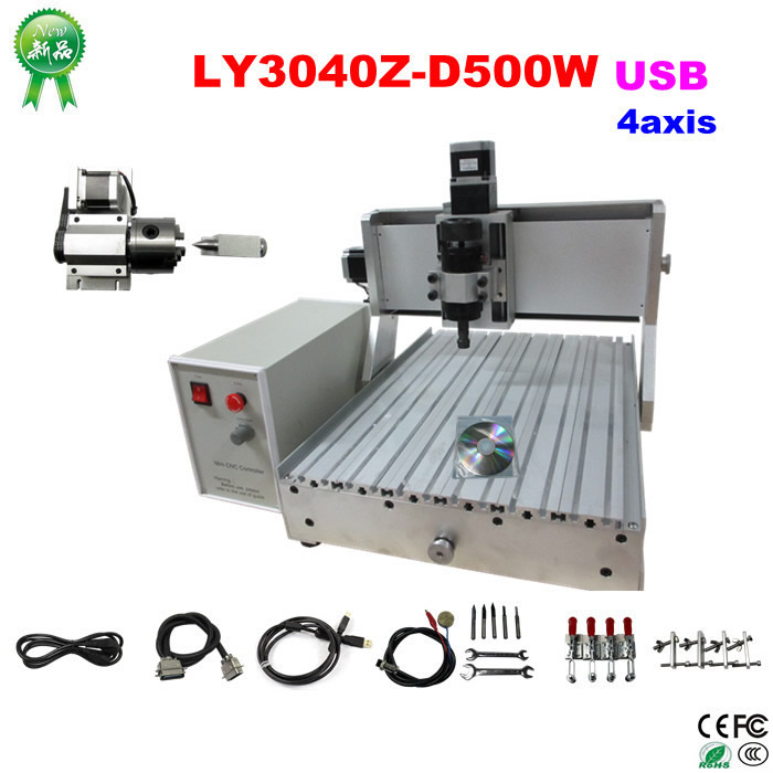 Free shipping usb cnc router 3040 with  500W water cooling spindle 4 axis cnc milling machine cnc 5axis a aixs rotary axis t chuck type for cnc router cnc milling machine best quality