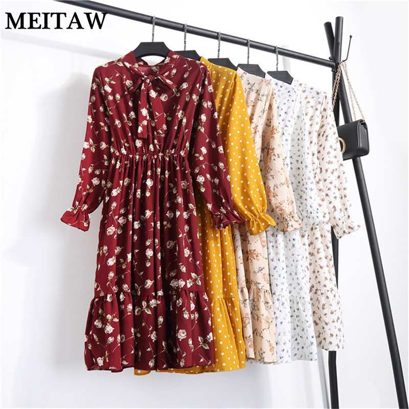 Retro Dresses Long-Sleeve Floral-Printed Vintage Autumn Casual Women Summer Bow-Neck title=
