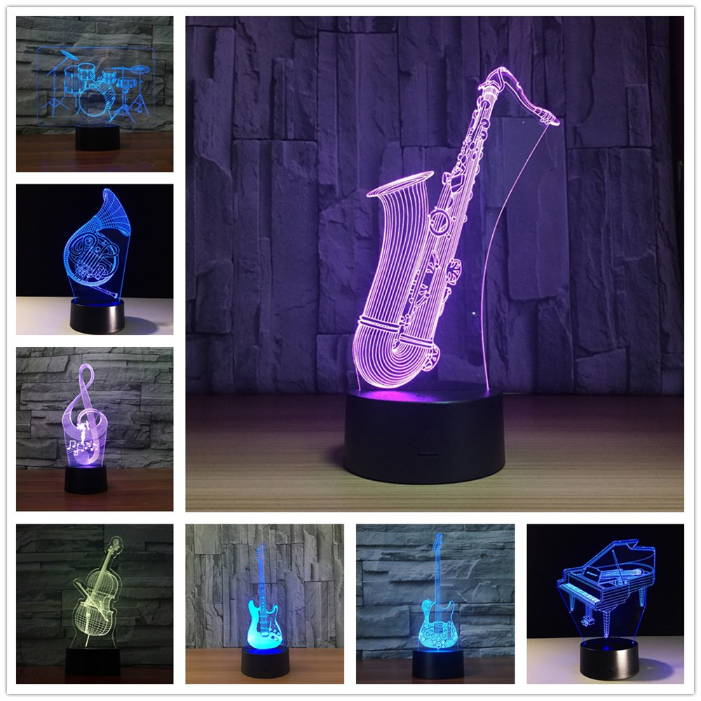 Saxophone 7 Color Lamp 3d Visual Led Night Lights For Kids Touch Usb Table Lampara Lampe Baby Sleeping Nightlight image