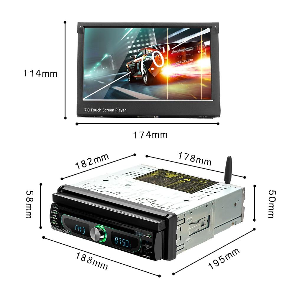 Podofo 1 din Car Radio player Auto Retractable screen Android 8.0 wifi Car Multimedia player Touch Screen Autoradio Car DVD Play