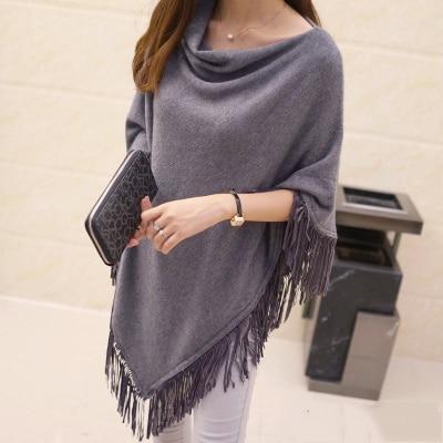 Женский весенне-осенний вязаный свитер, пончо, пальто, однотонный элегантный пуловер, джемпер с неровными кисточками, накидка, накидка для женщин - Цвет: grey