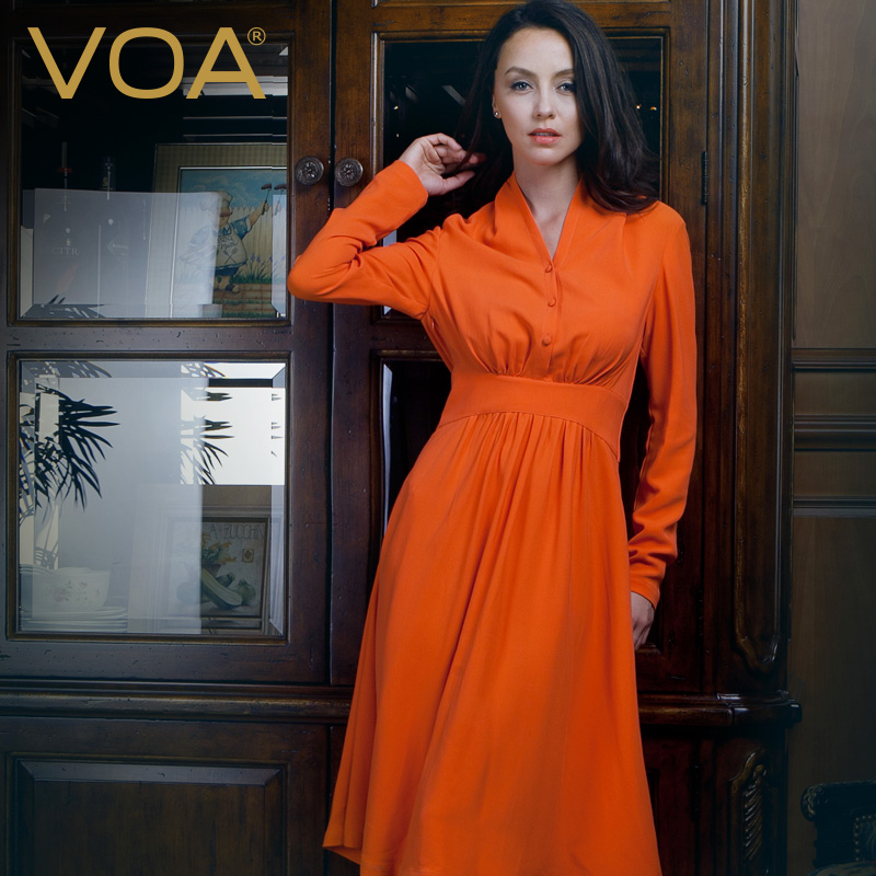 VOA design Forbes Chinese designer black flower and orange trench women tall waist v-neck spliced coats S03 silk dress