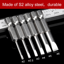 1Sets Slotted Screwdrivers Bits 2mm-6mm S2 alloy steel Magnetic Flat Head Tip 1/4 Inch Hex Shank