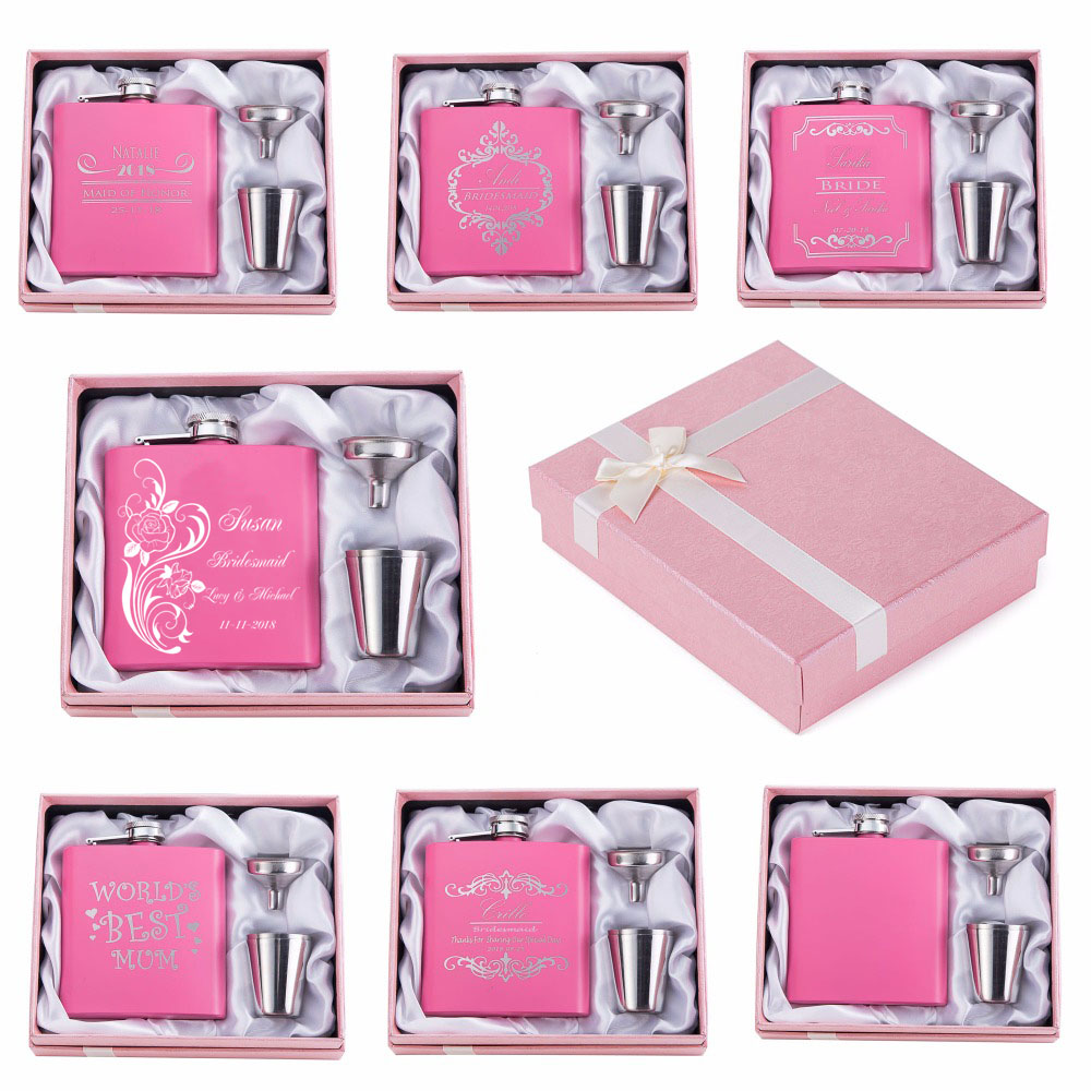 2018 ENGRAVED Free stainless steel pink hip flask and set , Wedding ...