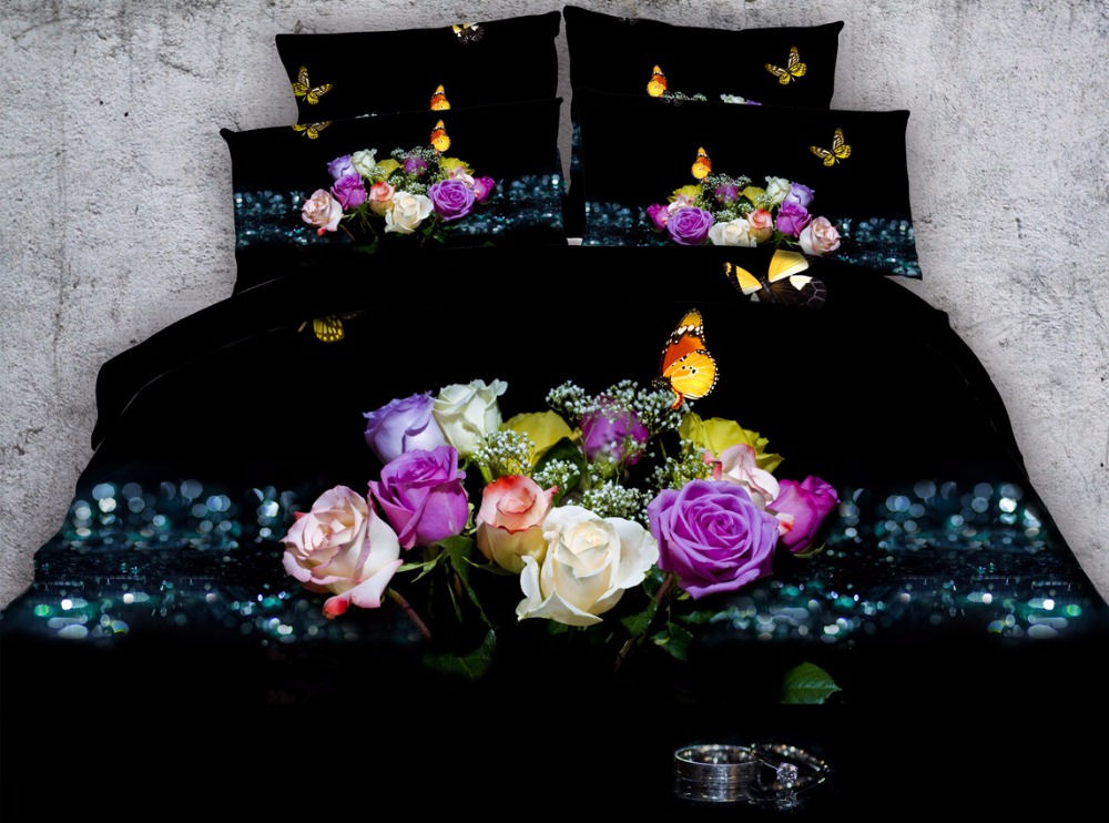 4pcs floral printed bedding set king size 3d butterfly