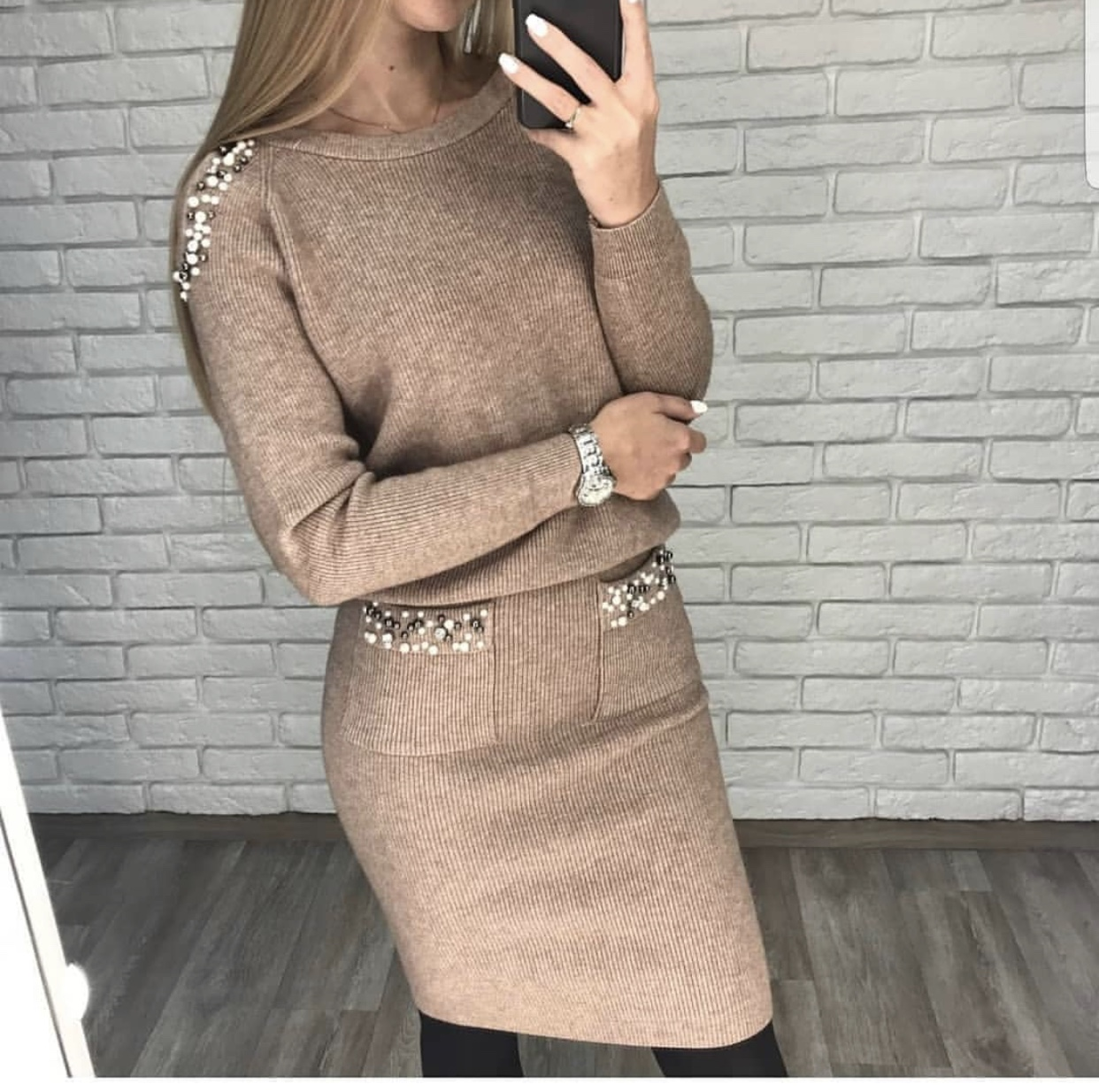Women Two Piece Set  Peals Sweater Tops Skirt Suits Long Sleeve Off Shoulder Pullovers Elegant Woman Knitted Jumpers Skirts Set