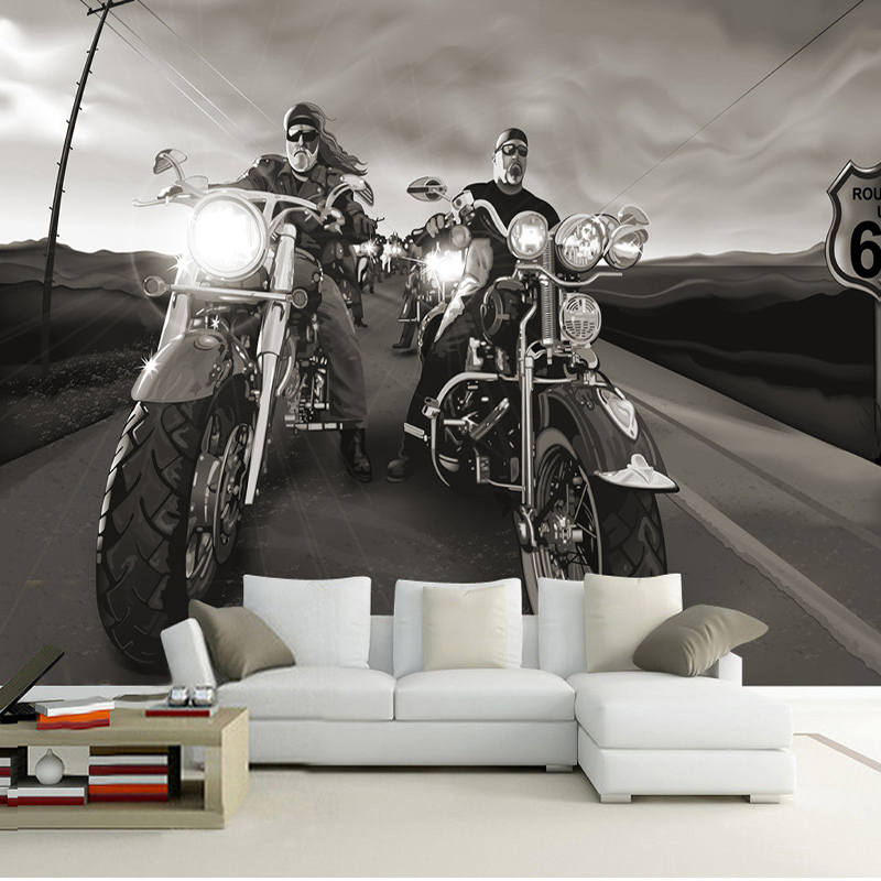 Custom 3D Poster Wall Paper Modern High Quality Living Room Sofa Bedroom TV Backdrop Mural Paintings Wallpaper Motorcycle Rider custom poster photo wallpaper retro nostalgia 3d cartoon car graffiti mural wallpaper for living room tv backdrop wall paper
