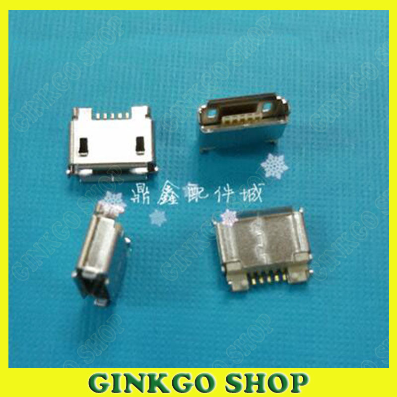 50 pcs Micro USB Tomadas de Alimentação de 5 Pinos de 180 Graus para o Telefone Móvel Tipo AB