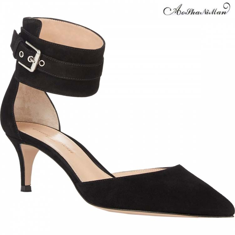 2019 Newest Fahion women high heels summer shoes black color pointed toe sandals suede leather dress shoes 34-41 top quaity2019 Newest Fahion women high heels summer shoes black color pointed toe sandals suede leather dress shoes 34-41 top quaity