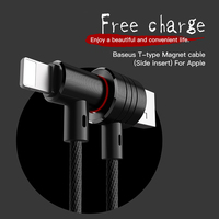 Baseus magnetic Elbow 8pin usb cable for iPhone 5s 6s plus 7 plus Charging Cable for apple ipad lightning braided Data lines 1m