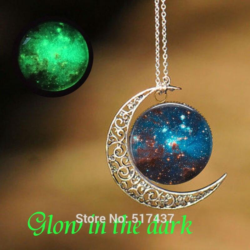 Glowing Pendant Blue Nebula Necklace Glass Galaxy Necklace Glow in The Dark Jewelry Necklace