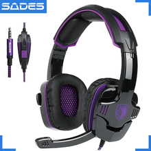 Sades SA 930 fone de ouvido profissional ps4, fone de ouvido gamer de 3.5mm com cabo 1 para 2 para computador e celulares