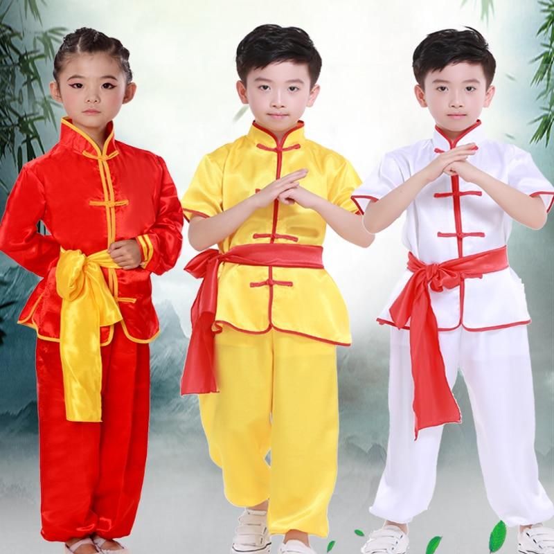Детский костюм кунг фу для мальчиков, рубашка и брюки, традиционное китайское искусство, комплект детской одежды|Танцевальный костюм для китайских народный танцев| | АлиЭкспресс