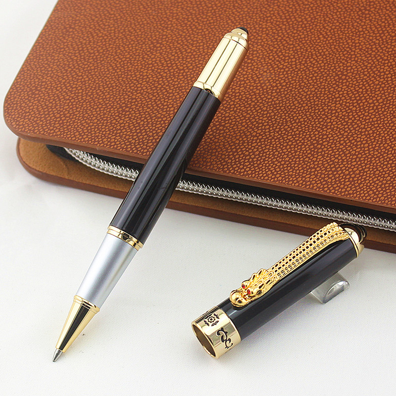 Free Shipping Jinhao dragon <font><b>pen</b></font> Luxury Metal Roller Ball <font><b>Pen</b></font> with <font><b>0.7</b></font> mm Black Ink <font><b>Refill</b></font> Ballpoint <font><b>Pens</b></font> Signature <font><b>pen</b></font> Gift image