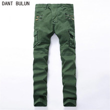 Men's Zipper decoration fashion slim vintage biker jeans Casual thick heavyweight stretch denim cargo pants Long trousers