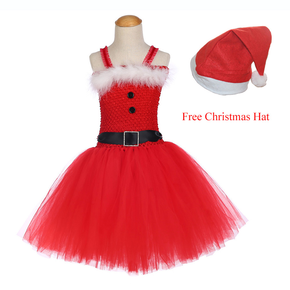 Girls Christmas Santa Winter Dress with Feather and Sashes Handmade Red Puffy Dress for Kids Birthday Tutu Party Dress Clothes (1)