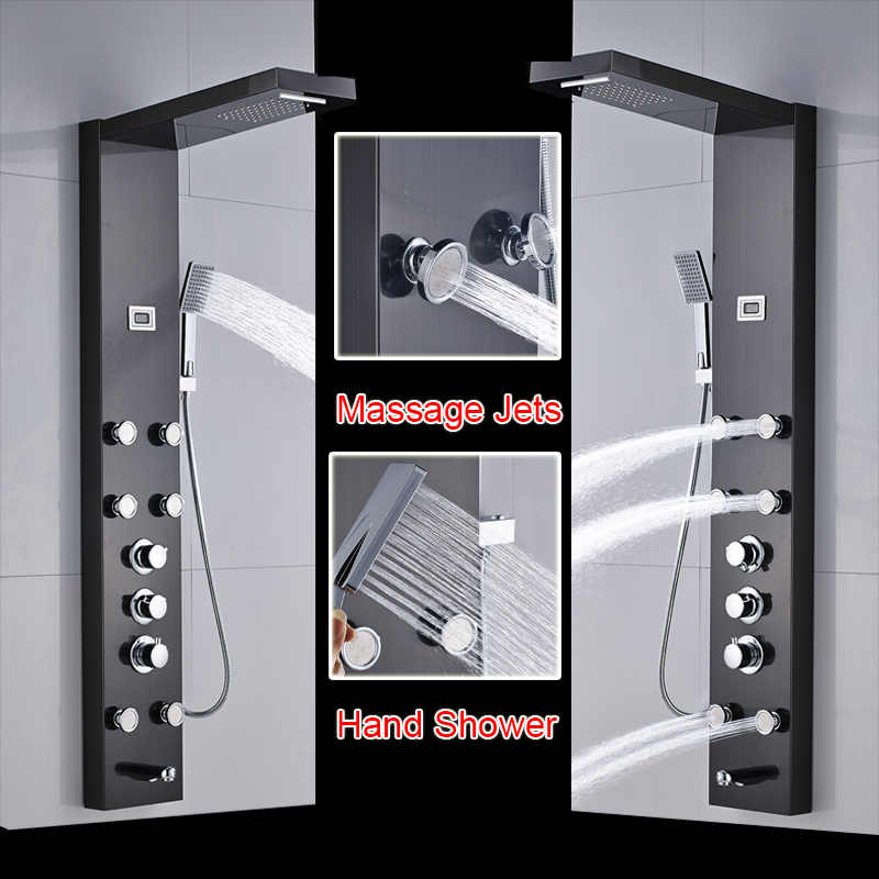 Ulgksd Shower Panels Digital Display Massage Jets Torneira Bath Mixing Valve Shower Faucet Tub Filler Mixer Tap System Bathroom Fixtures Back To Search Resultshome Improvement