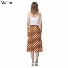Vadim women vintage dot print midi skirt button design pockets A line ladies casual summer mid calf skirts falda mujer BA022