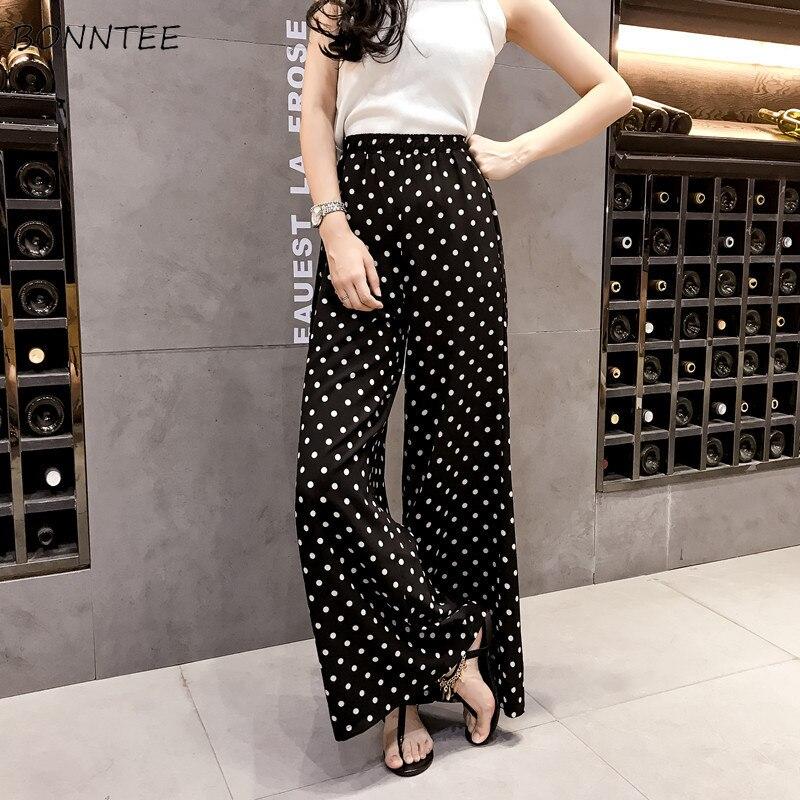 Pants Women Korean Style Spring Summer Point Wide Leg Womens High Waist Chiffon Elegant Breathable Comfortable Trendy Trousers