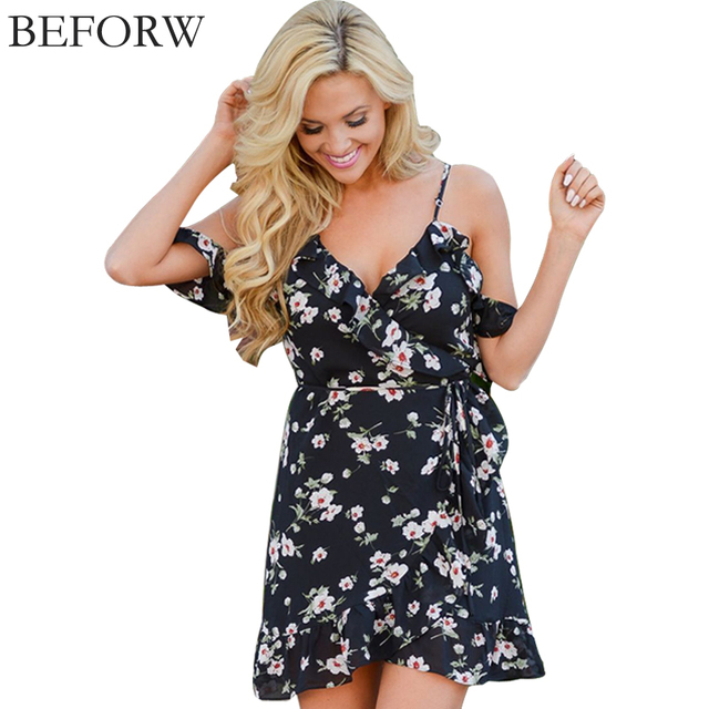 BEFORW 2017 Off Shoulder Women Summer Sling Dress Fashion Casual Sleeveless Dresses Elastic Mini Floral Print Short Dress